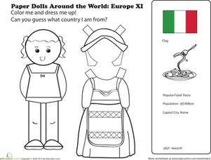 First Grade Coloring Worksheets: Italian Paper Doll