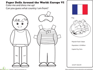 First Grade Coloring Worksheets: French Paper Doll