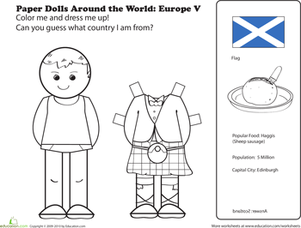 First Grade Coloring Worksheets: Scottish Paper Doll