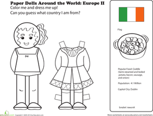 First Grade Coloring Worksheets: Irish Paper Doll