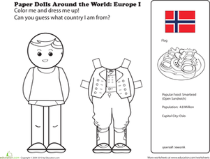 First Grade Coloring Worksheets: Paper Dolls Around the World: Europe I