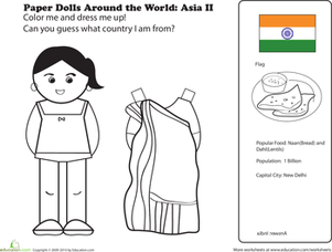 First Grade Coloring Worksheets: Indian Paper Doll