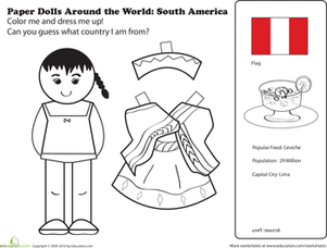 First Grade Coloring Worksheets: Paper Dolls Around the World: Latin America II