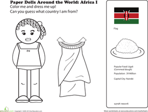 First Grade Coloring Worksheets: African Paper Doll