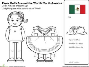 First Grade Coloring Worksheets: Mexican Paper Doll