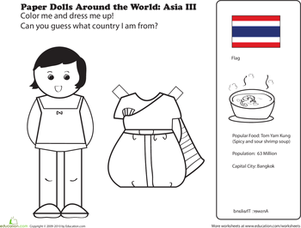 First Grade Coloring Worksheets: Paper Dolls Around the World: Thailand