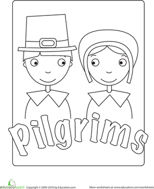 Kindergarten Reading & Writing Worksheets: Pilgrim Coloring Page
