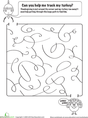First Grade Holidays & Seasons Worksheets: Thanksgiving Day Maze