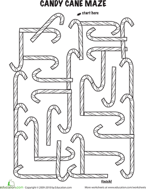 Kindergarten Holidays & Seasons Worksheets: Follow the Candy Cane Maze