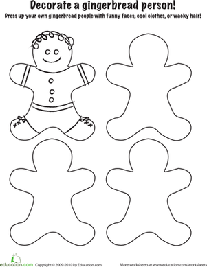 Kindergarten Holidays Worksheets: Gingerbread Coloring Page