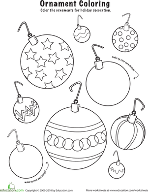 Kindergarten Holidays & Seasons Worksheets: Christmas Ornaments to Color