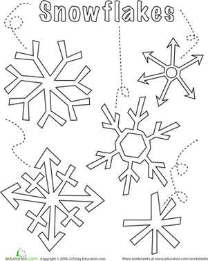 Preschool Holidays & Seasons Worksheets: Snowflake Coloring Page
