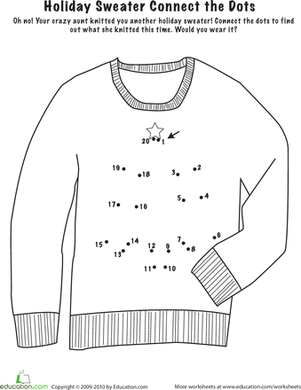 Kindergarten Math Worksheets: Connect the Dots: Holiday Sweater