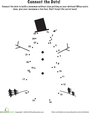 Kindergarten Math Worksheets: Snowman Dot to Dot