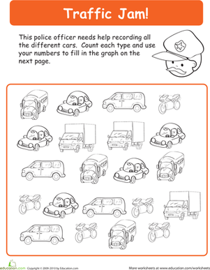 Kindergarten Math Worksheets: Practice Sorting and Counting in a Traffic Jam