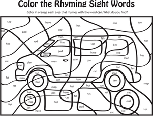 Kindergarten Reading & Writing Worksheets: Learning Rhyming Words: Can