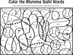 Kindergarten Reading & Writing Worksheets: Color the Rhyming Sight Words VII