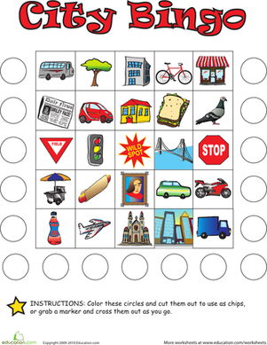 Kindergarten Offline Games Worksheets: City Bingo