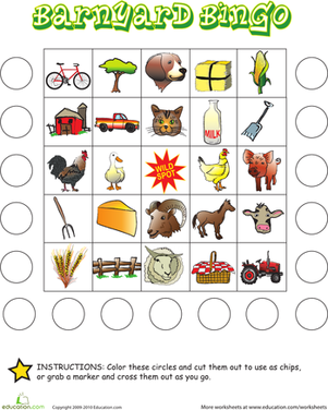 Kindergarten Offline games Worksheets: Farm Bingo