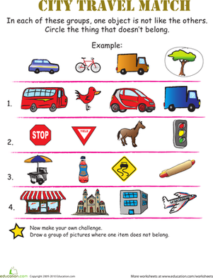 Preschool Math Worksheets: Find What Doesn't Belong: In the City