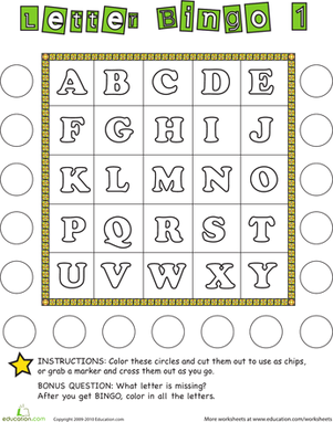 Kindergarten Reading & Writing Worksheets: Alphabet Bingo 1
