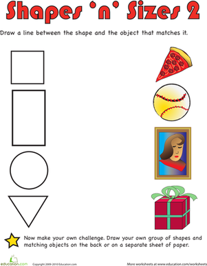 Preschool Math Worksheets: Shapes 'n' Sizes II