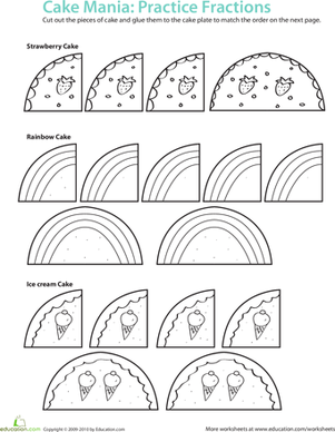 Second Grade Math Worksheets: Fraction Math: Cake Mania!