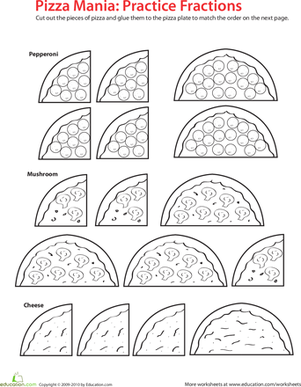 Second Grade Math Worksheets: Fraction Math: Pizza Time!