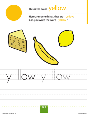 Preschool Reading & Writing Worksheets: Things That Are Yellow