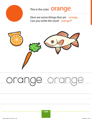 Preschool Reading & Writing Worksheets: Orange Things