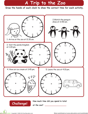 Second Grade Math Worksheets: Going to the Zoo: What Time is It?