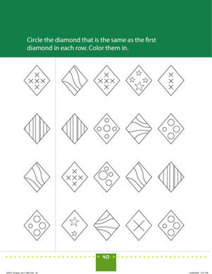 Preschool Math Worksheets: Match the Diamonds