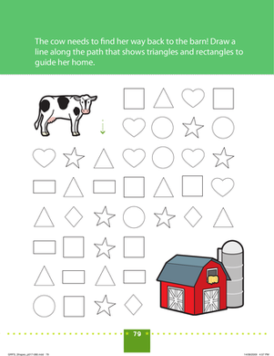 Preschool Math Worksheets: Shape Patterns: Farm Maze