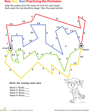 Third Grade Math Worksheets: Longest Route: Calculating Perimeter