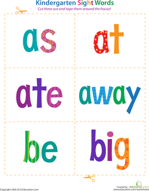 Kindergarten Reading & Writing Worksheets: Kindergarten Sight Words: As to Big