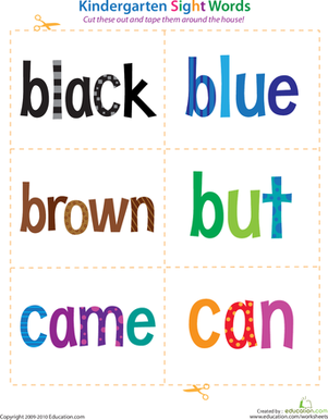 Kindergarten Reading & Writing Worksheets: Kindergarten Sight Words: Black to Can