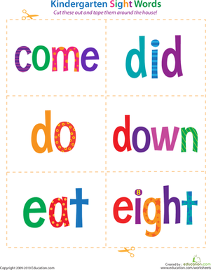 Kindergarten Reading & Writing Worksheets: Kindergarten Sight Words: Come to Eight