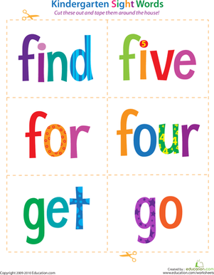 Kindergarten Reading & Writing Worksheets: Kindergarten Sight Words: Find to Go