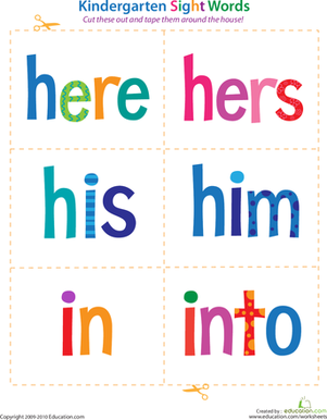 Kindergarten Reading & Writing Worksheets: Kindergarten Sight Words: Here to Into