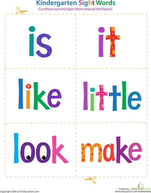 Kindergarten Reading & Writing Worksheets: Kindergarten Sight Words: Is to Make