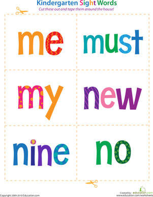 Kindergarten Reading & Writing Worksheets: Kindergarten Sight Words: Me to No