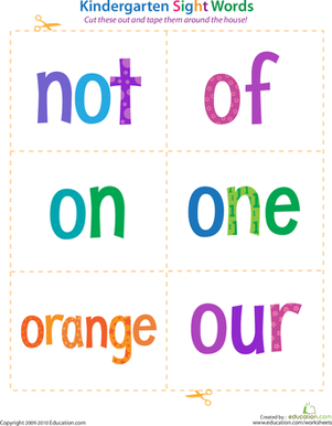 Kindergarten Sight Words: Not to Our | Worksheet | Education.com