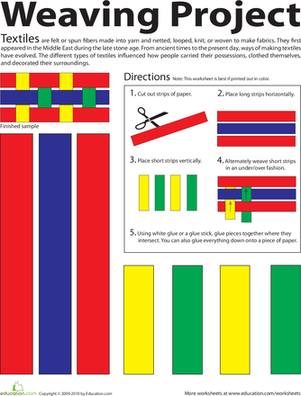 Third Grade Arts & Crafts Worksheets: Printable Paper Weaving