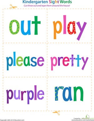 Kindergarten Reading & Writing Worksheets: Kindergarten Sight Words: Out to Ran