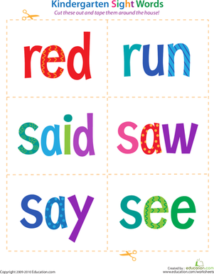 Kindergarten Reading & Writing Worksheets: Kindergarten Sight Words: Red to See