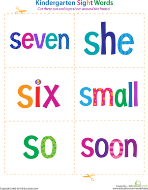 Kindergarten Reading & Writing Worksheets: Kindergarten Sight Words: Seven to Soon