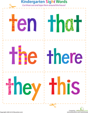 Kindergarten Reading & Writing Worksheets: Kindergarten Sight Words: Ten to This