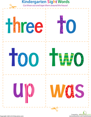Kindergarten Reading & Writing Worksheets: Kindergarten Sight Words: Three to Was