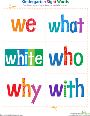 Kindergarten Reading & Writing Worksheets: Kindergarten Sight Words: We to With