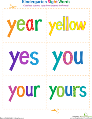 Kindergarten Reading & Writing Worksheets: Kindergarten Sight Words: Year to Yours